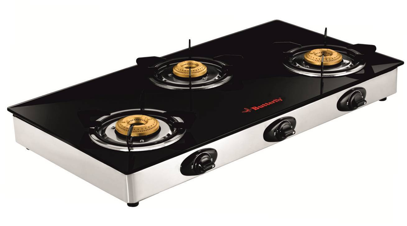 Butterfly Jet Glass Top 3 Burner LPG Gas Stove