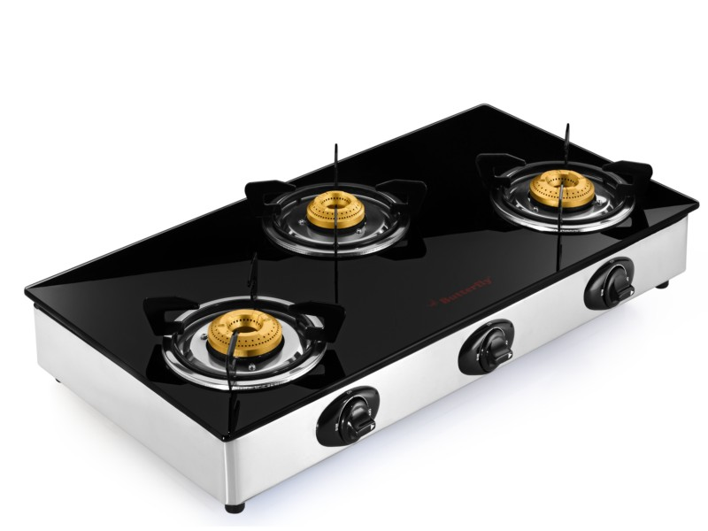 Butterfly Reflection Glass Top 3 Burner LPG Gas Stove