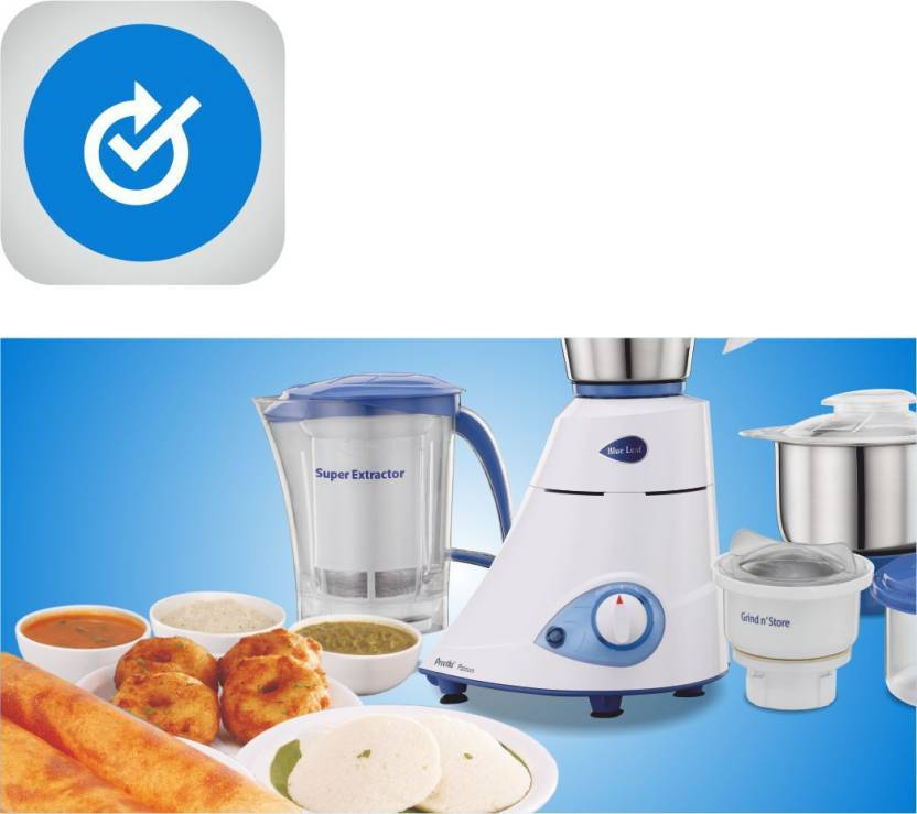 Preethi Platinum MG-139 750 W Mixer Grinder (White/Blue, 4 Jars)